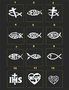 Jesus Fish Religious Reflective Helmet Decal 2 For 1 Pick Size Color
