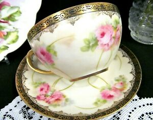German Tea Cup And Saucer Pink Roses Bouquet Painted Teacup Germany Gold Gilt