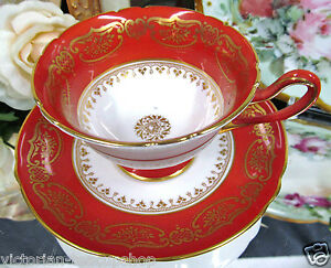 Shelley Tea Cup And Saucer Deep Orange And Gold Pattern Teacup