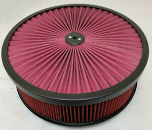 New 14 Red High Flow Washable Air Cleaner Black Recessed Base Muscle Street Rod