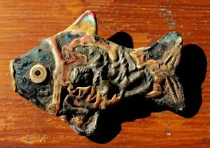 Huge Very Old Phoenician Glass Fish Bead Artifact From Europe Collection