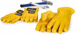 Quality Leather Work Gloves Yellow For Large Hands Three Pair Professional Pack