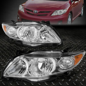 For 2009 2010 Toyota Corolla Pair Chrome Housing Amber Corner Headlight Lamp