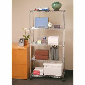 3 5 Tier Level Shelf Adjustable Wire Metal Commercial Shelving Rack W rolling