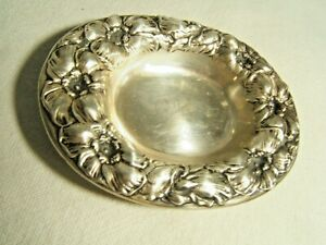 Sterling Silver Nut Of Candy Dish Floral Border Very Pretty