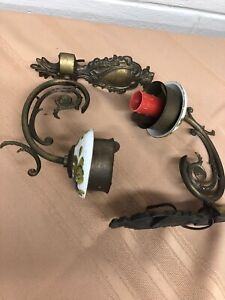 2 Antique Painted Victorian Brass Single Candle Wall Sconce