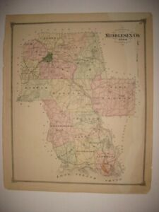 Antique 1874 Middlesex County Connecticut Map Essex Old Saybrook Cromwell Rare