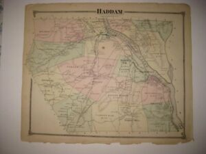 Antique 1874 Haddam Higganum Middlesex County Connecticut Handcolored Map Rare