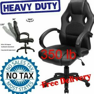 350 Lb High Back Support Big And Tall Desk Ergonomic Leather Gaming Racing Chair