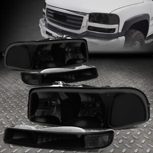 For 99 07 Gmc Sierra Yukon Xl Tinted Housing Clear Corner Headlight Bumper Lamps