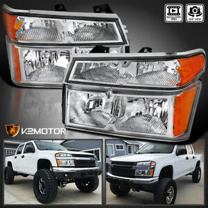 For 2004 2012 Chevy Colorado Gmc Canyon Clear Headlights 4pc bumper Corner Lamps