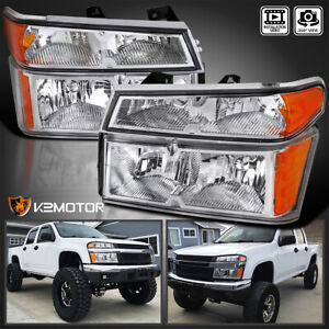 2004 2012 Chevy Colorado Gmc Canyon Clear Headlights 4pc bumper Corner Lamps