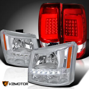 2004 2006 Silverado 1pc Style Led Drl Clear Headlights Red Clear Led Tail Lamps