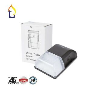 15w Dusk To Dawn Photocell Led Wall Pack Outdoor Wall Mount Light 5000k