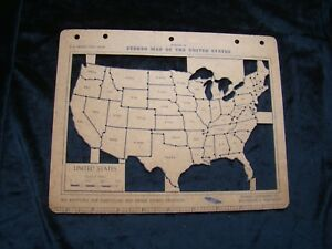 Vintage Stenso Map Of The United States 50 No Envelope