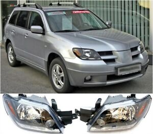 2 Fit For 2003 2005 Mitsubishi Outlander Front Head Lamp Headlights Assembly Set