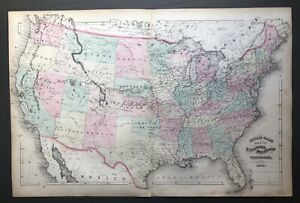 1871 Walling Gray S Color Map United States Inc Indian Territory Railroads