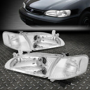 For 98 00 Toyota Corolla Chrome Housing Clear Corner Headlight Replacement Lamps