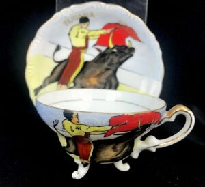 Vintage Tijuana Mexico Bull Fight Bullfighting Hand Painted Cup