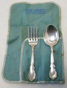 Vintage Lunt Modern Victorian Sterling Silver Baby Fork And Spoon Set With Bag