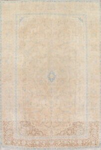 Vintate Muted Pale Peach Persian Oriental Distressed Wool Area Rug Large 10 X14