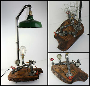 Hand Crafted Live Edge Wood Slab Steampunk Industrial Lamp Porcelain Shade Gauge