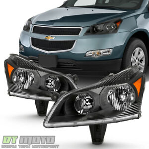 2009 2012 Chevy Traverse Ls Lt Black Headlights Headlamps Replacement Left Right