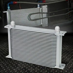 Universal Aluminum Pro Racing Engine Oil Cooler 25 Row 10an Powder Coated Silver