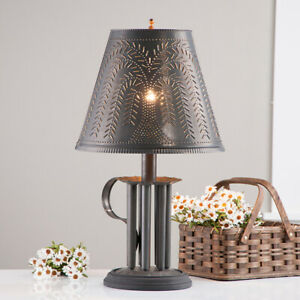 New Blacken Tin Round Candle Mold Lamp W Punch Willow Shade