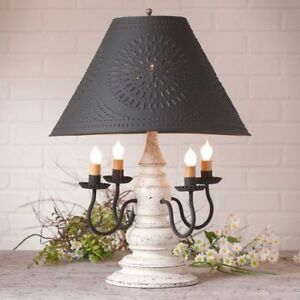 Country New Americana Vintage White 4 Arm Wood Table Lamp W Black Tin Shade