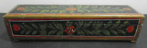 Antique Hand Painted Wood Pencil Box 10 7 8 Long