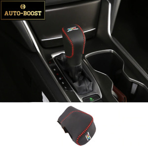 Red Thread Automatic Leather Gear Shift Knob Cover For Honda Accord 2018 10th