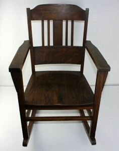 Antique Mission Solid Oak Arts Crafts Stickley Limbert Era Child S Rocker Old