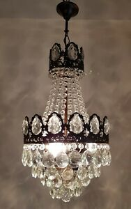 Antique Vintage Brass Crystals French Chandelier Lighting Ceiling Lamp Light