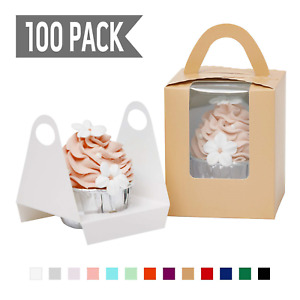 Yotruth Pop up Cameo Beige Cupcake Boxes Single 100 Sets With Window Insert And