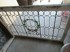 Large Antique Stained Glass Window 52 X 32 Architectural Salvage
