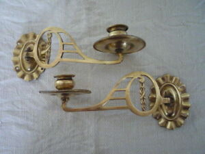 2 Decorative Simple Brass Candle Candlestick Holders Wall Sconce Piano Pair