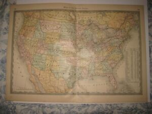 Fine Large Vintage Antique 1885 United States Map Territory Texas Population Nr