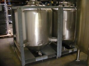 250 Gallon 1 000 Liter Stainless Steel Cone Bottom Stackable Tote Tank S