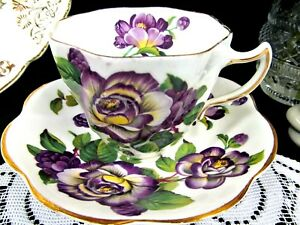 Rosina Tea Cup And Saucer Purple Floral Painted Rose Teacup England