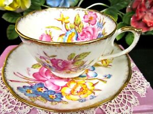 Roslyn Tea Cup And Saucer Hand Painted Artist Signed Teacup Pink Cabbage Rose