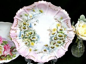Limoges France Painted Large Charger Daisy Artist Signed Pink Platter Plate