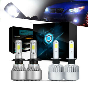 For 2006 2008 Bmw 3 Series E90 Black Projector Led Headlights Bulbs Combo Us 4pc