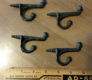 4 Antique Cast Iron Screw In Coat Hooks Acorn Victorian Architectural Salvage