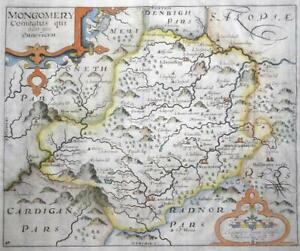 C1637 Antique Map Montgomeryshire Wales By Saxton Kip Montgomery Lm4