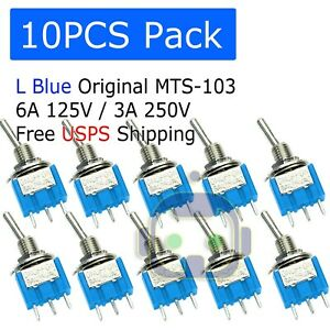 10 Pcs Mts 103 Latch Mini Blue Toggle Switch 125vac 6a On off on 3 Position Spdt
