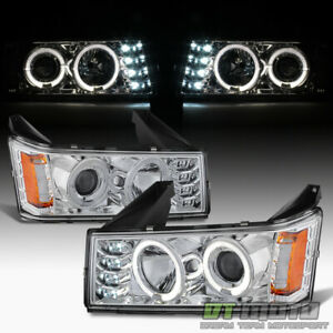Chrome 2004 2012 Chevy Colorado Gmc Canyon Led Dual Halo Projector Headlights