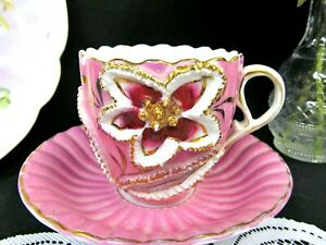 German Tea Cup And Saucer Pink Molded Raised Teacup Germany Mans Cup Painted