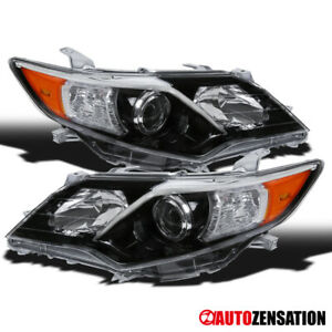 For 2012 2014 Toyota Camry Se Slick Black Clear Projector Headlights Lamps Pair