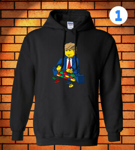Donald Trump Build A Wall Hoodie Lego Man Funny Gift Usa